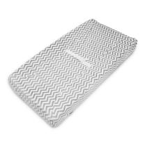 TL Care Heavenly Soft Chenille Fitted Contoured Changing Pad Cover, Gray Zig Zag, for Boys and Girls