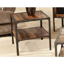 Emerald Home Laramie Medium Brown End Table with Solid Wood Top, Open Shelving, And Metal Frame