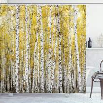 "Ambesonne Forest Shower Curtain, Autumn Birch Forest Golden Yellow Leaves Woodland October Seasonal Nature Picture, Cloth Fabric Bathroom Decor Set with Hooks, 75"" Long, Yellow Grey"