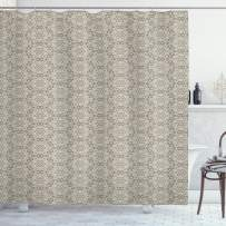 """Ambesonne Vintage Shower Curtain, Classical Timeless Motifs Medieval Victorian Motifs with Flowers and Swirls Antique, Cloth Fabric Bathroom Decor Set with Hooks, 70"""" Long, White Tan"""