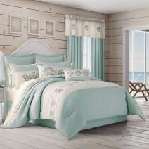 Royal Court Water's Edge Coastal Nautical 4 Piece Comforter Set, Aqua, King 104x92