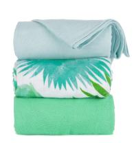 Tula Baby Blanket Set, 3 Pack of 47x47 Inches, 100% Viscose from Bamboo Unisex Swaddle Blankets – Belle Isle (Palm Leaves, Light Blue, Green)