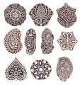 Hashcart Hand-Carved Wooden Baren | Motif Printing Block for Artistic Design On Saree Border | Painting | Ink Printing Blocks