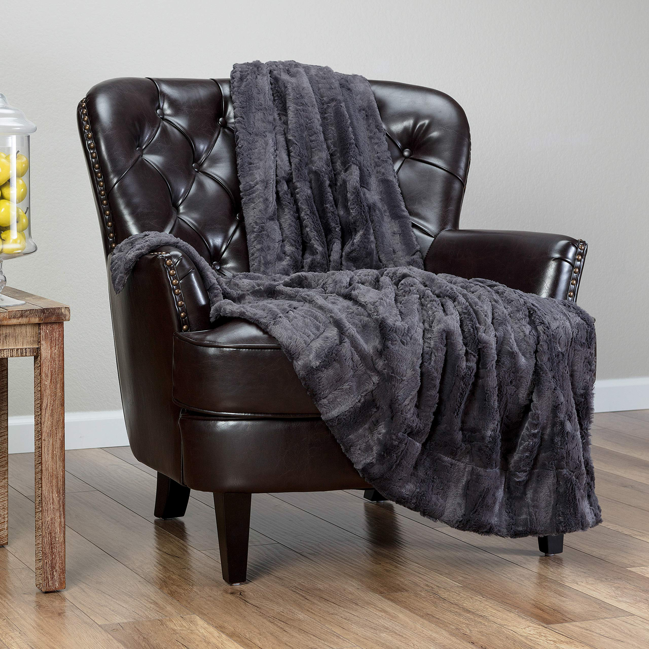 Chanasya Fuzzy Faux Feather Fur Throw Blanket - Reversible Soft Elegant Ruffle Front and Micro Mink Back Chick Blanket for Bed Couch Room (50x65 Inches) Charcoal Gray
