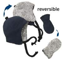 N'Ice Caps Little Boys and Baby Reversible Hat Mittens Fleece Skater Set