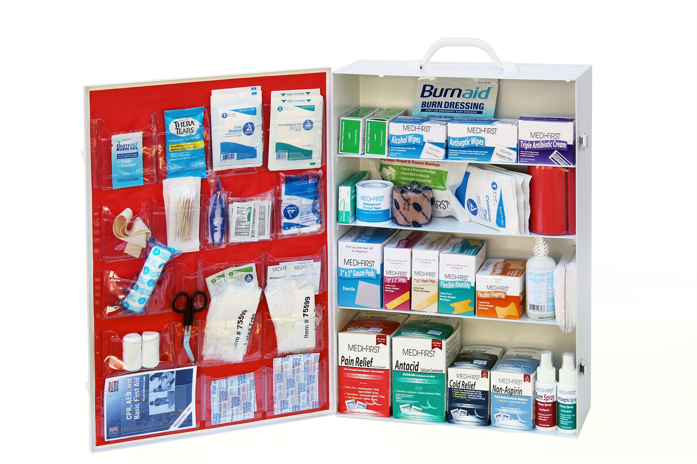 MEDIQUE 4-Shelf First Aid Kit, Side-Open First Aid Cabinet w/Alcohol Wipes