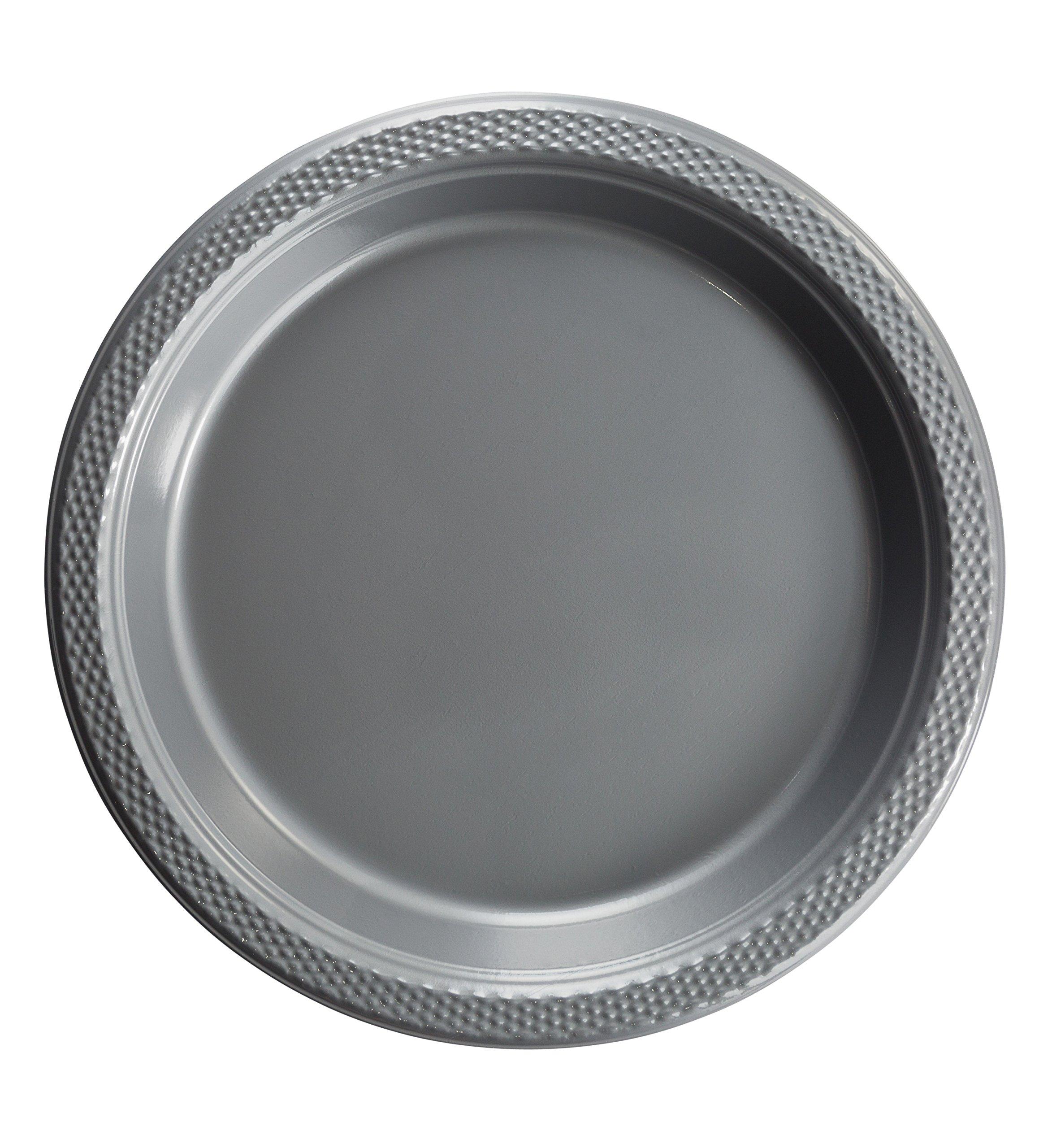 Exquisite Plastic Dessert/Salad Plates - Solid Color Disposable Plates - 100 Count (10 Inch, Silver)