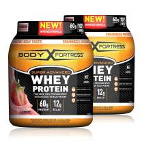 Body Fortress Super Advanced Whey Protein Powder, Gluten Free, Strawberry, 32 Oz, Pack of 2