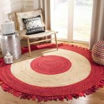 Safavieh Cape Cod Collection CAP701Q Hand-Woven Area Rug, 3' x 3' Round, Red/Natural