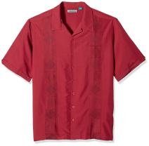 Cubavera Men's Big and Tall Short Sleeve Rayon-Blend Solid Cuban Camp Shirt with Pocket