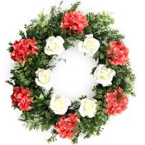 flybold Spring Wreaths Front Door Wreath Outdoor Summer Wreaths 23 Inch Large with Artificial Pink Hydrangea Flower and White Rose Welcome Decor for All Seasons