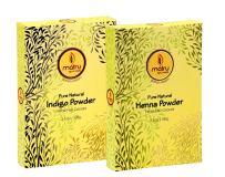 MATRU AYURVEDA 100gm Pure Henna Powder + 100gm Indigo Powder - Ayurvedic/Herbal Hair and Beard Dye/Color Kit. 100% Pure, Natural and Chemical Free, Covers Gray Hair, Strengthens Dull Hair (SET OF 1)