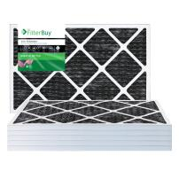 FilterBuy Allergen Odor Eliminator 12x24x1 MERV 8 Pleated AC Furnace Air Filter with Activated Carbon - Pack of 6-12x24x1