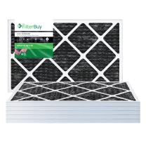 FilterBuy Allergen Odor Eliminator 16x25x1 MERV 8 Pleated AC Furnace Air Filter with Activated Carbon - Pack of 6-16x25x1