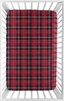Sweet Jojo Designs Red and Black Woodland Plaid Flannel Baby Boy Fitted Mini Portable Crib Sheet for Rustic Patch Collection - for Mini Crib or Pack and Play ONLY