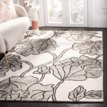 Safavieh Dip Dye Collection DDY683C Handmade Modern Floral Watercolor Ivory and Light Grey Wool Area Rug (3' x 5')