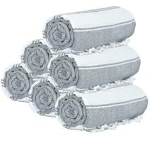GLAMBURG Peshtemal Turkish Towel 100% Cotton Beach Towels Oversized 36x71 Set of 6, Cotton Beach Towels for Adults, Soft Durable Absorbent Extra Large Bath Sheet Hammam Towel - Charcoal Grey