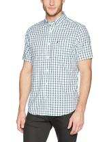 Nautica Men's Wrinkle Resistant Short Sleeve Plaid Button Front Shirt
