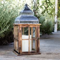 """Lights4fun, Inc. 20"""" Rustic Wooden Battery Operated Indoor LED Flameless Candle Lantern"""