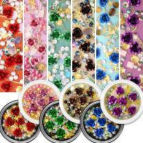Flower Nail Rhinestones, 6 Pots Mixed Metal Rose Charms Gold Shell Line Sparkle Sea-Shaped Gems Set, Colorful Pearl Diamond Artificial Gradient Jewelry DIY 3D Nail Art Decoration