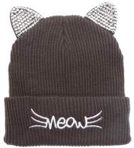 MIRMARU Women's Soft Warm Embroidered Meow Cat Ears Knit Beanie Hat with Stone Embellished (Charcoal)
