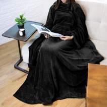 PAVILIA Premium Fleece Blanket with Sleeves for Adult, Women, Men | Warm, Cozy, Extra Soft, Microplush, Functional, Lightweight Wearable Throw (Black, Kangaroo Pocket)