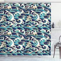 """Ambesonne Nautical Shower Curtain, Traditional Oriental Style Ocean Waves Pattern with Foam and Splashes Print, Cloth Fabric Bathroom Decor Set with Hooks, 75"""" Long, Blue Gold"""