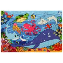 Under The Sea Foam Floor Puzzle - 54 Soft Pieces - 12x18 Inches Mat - Quality Jigsaw Puzzle for Preschoolers and Toddlers - Fun and Vibrant Image of Animals Underwater