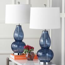 Safavieh Lighting Collection Mercurio Blue Double Gourd 28.5-inch Table Lamp (Set of 2)