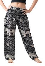 B BANGKOK PANTS Women's Harem Pants Bohemian Clothing Hippie Elephant Pant Lounge Loose Pajamas Smocked High Waist