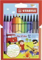 Stabilo 68 Mini Fineliner Pens  , Set of 12 , Multicolored