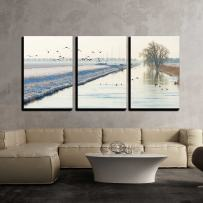 "wall26 - 3 Piece Canvas Wall Art - Birds Flying Over a Snowy Canal in Winter - Modern Home Art Stretched and Framed Ready to Hang - 16""x24""x3 Panels"