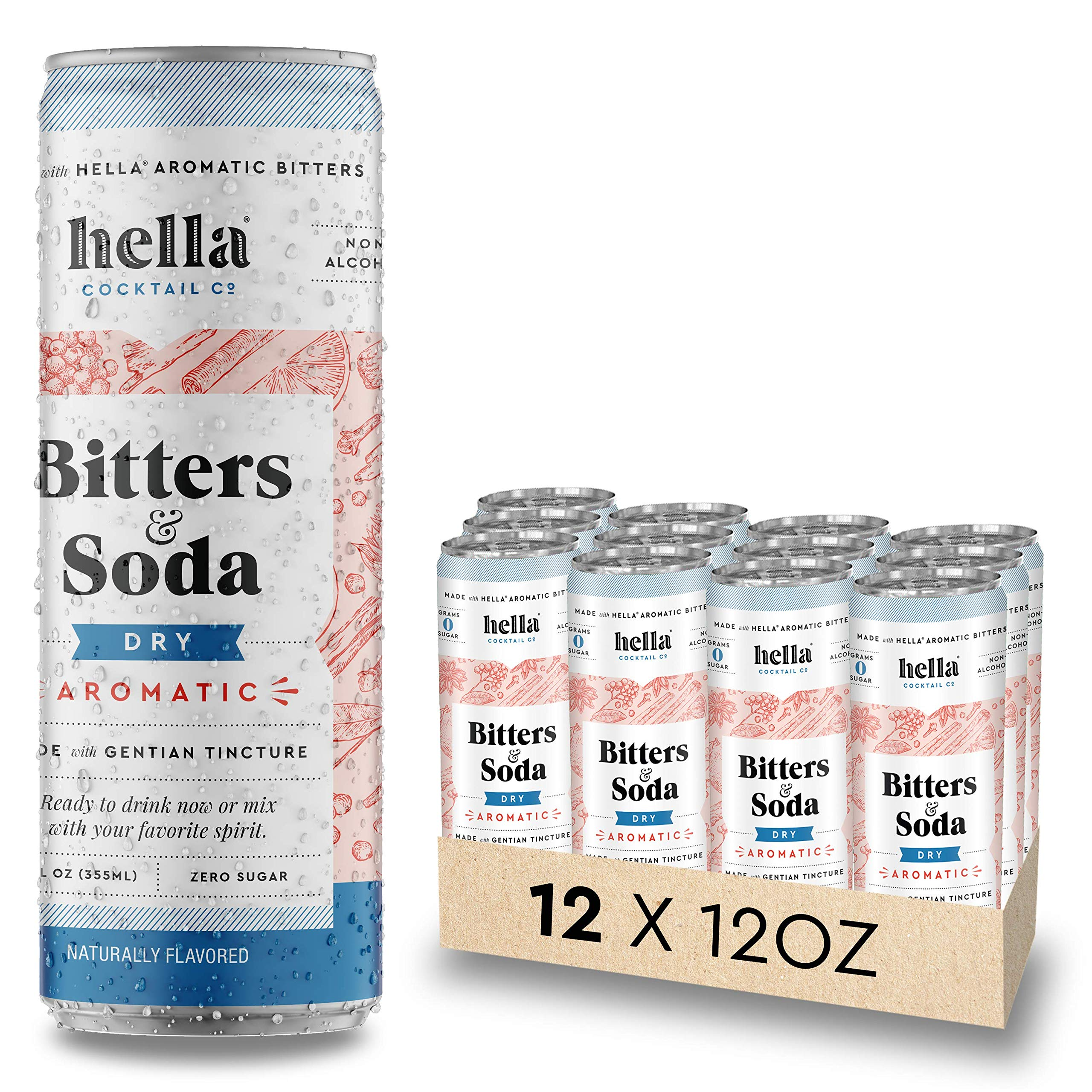 Hella Cocktail Co.   Dry Aromatic Bitters & Soda   12oz Cans (Case of 12)   Ready to Drink or Use as Cocktail Mixer   All Natural Ingredients, Made with Gentian Tincture
