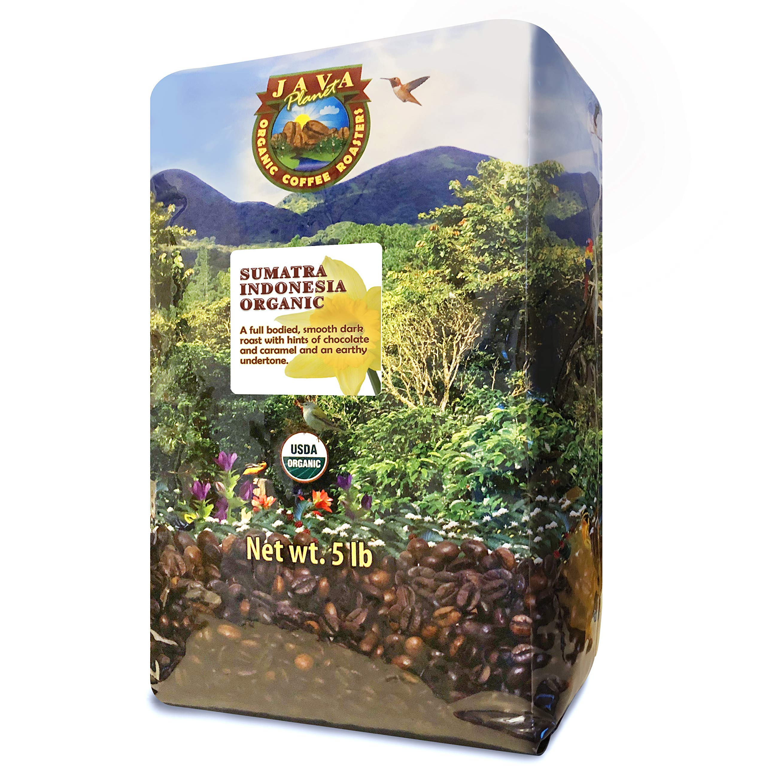 Java Planet, Organic Coffee Beans, Sumatra Indonesia Single Origin, Gourmet Dark Roast of Arabica Whole Bean Coffee, Certified Organic, Grown at High Altitudes, 5lb