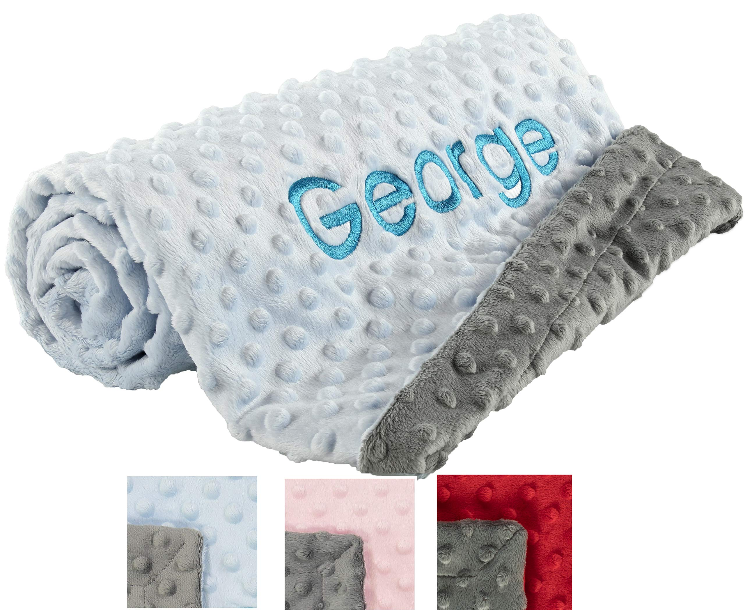 berry bebe Personalized Baby Blanket, Cozy Plush Blankets for Newborn, Blue and Gray for Boys