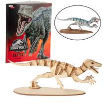 Jurassic World Raptor Dinosaur Toy Model Figure Kit - Build, Paint and Collect a Velociraptor 3D Wood Model - with Exclusive Jurassic World Movie Book