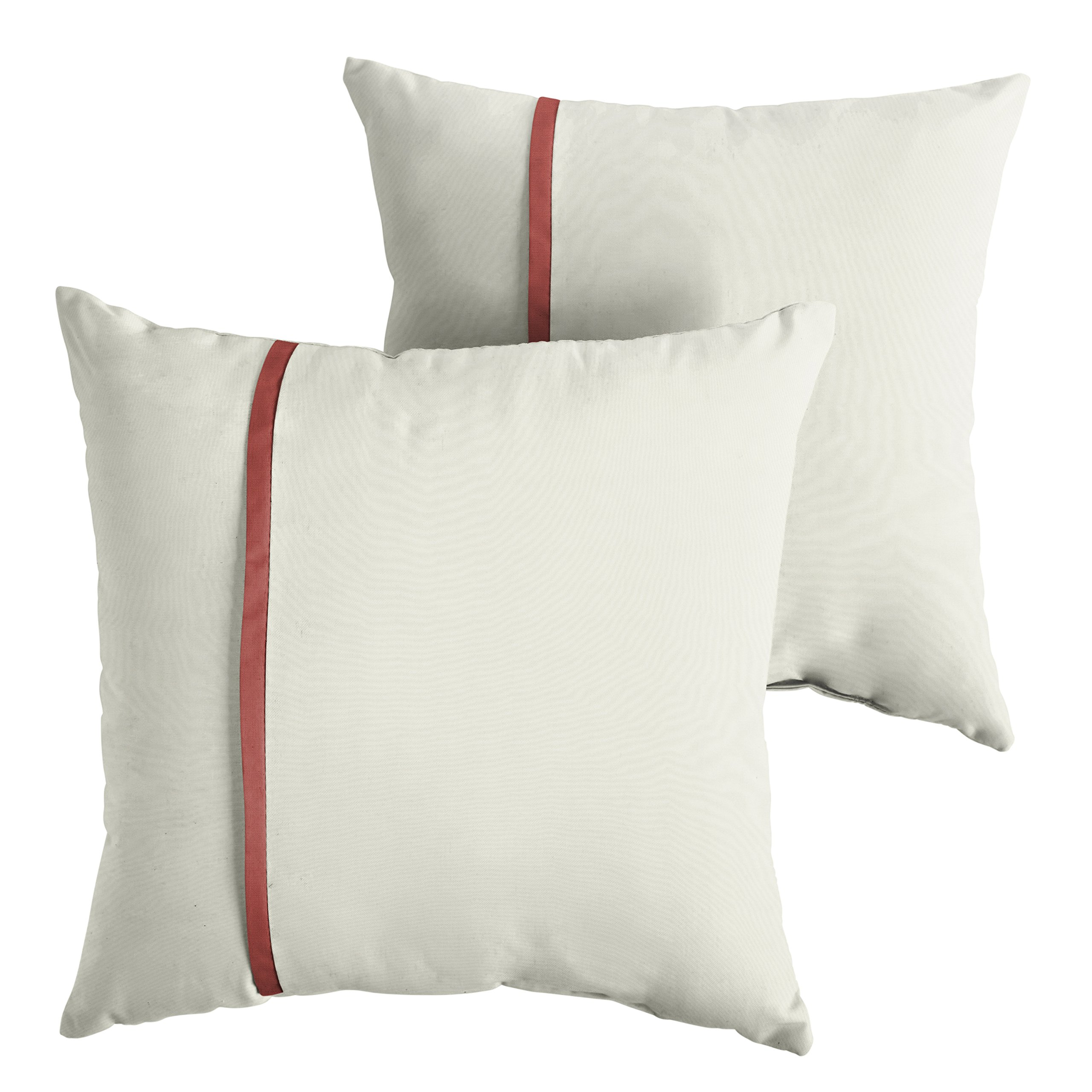 Mozaic Company AMPS112179 Indoor Outdoor Sunbrella Square Pillows, Set of 2, 20x20, Canvas Natural Ivory & Henna Red