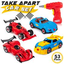 Take Apart Toy for Boys - 53-Piece Set of Racing Cars, Drill, Tools, Accessories - Vehicle Assembly Construction Building STEM Kit for 3 4 5 6 7 8 Years Old Kids & Toddlers - Great Gift for Children
