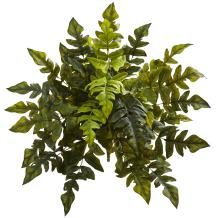 """Nearly Natural 24"""" Holly Fern (Set of 2) Artificial Plant, Green"""