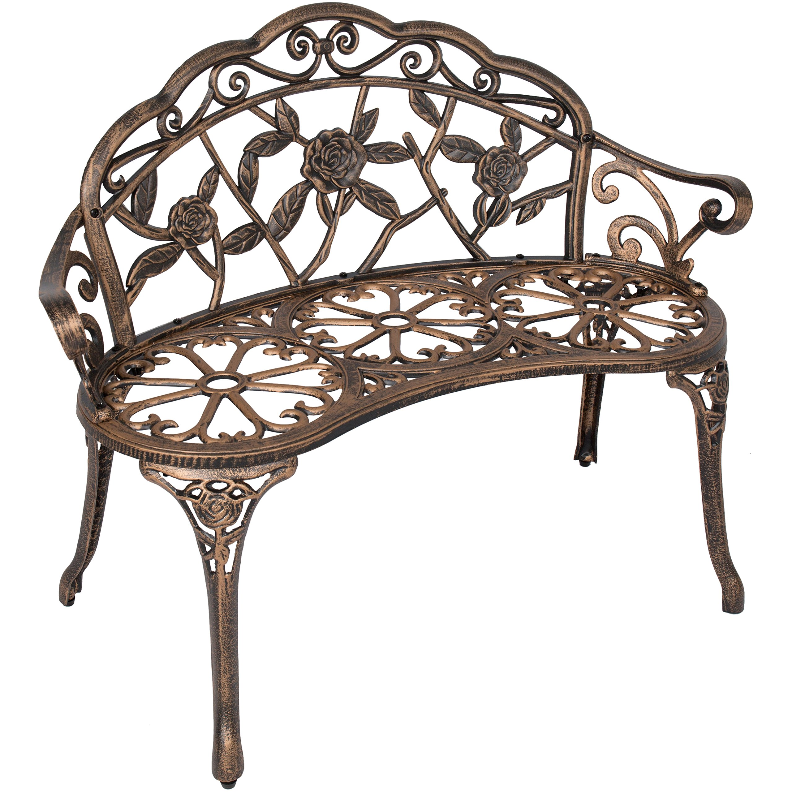 Best Choice Products 39in Outdoor Floral Rose Accented Metal Garden Patio Park Bench w/Antique Finish - Bronze