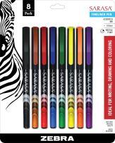 Zebra Sarasa Fineliner Pen, Needle Point, 0.8mm, Assorted, 8-Count