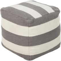 Surya 100-Percent Wool Pouf, 18-Inch by 18-Inch by 18-Inch, Gray/Ivory