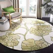 Safavieh Dip Dye Collection DDY683B Handmade Modern Floral Watercolor Ivory and Light Green Wool Round Area Rug (7' Diameter)