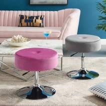 Art Leon Vanity Stool, Modern Large Round Swivel Adjustable Makeup Vanity Benche and Stool for Bathroom Bedroom, Magenta