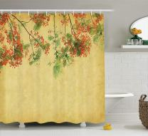 """Ambesonne Vintage Shower Curtain, Blossomed Spring Flowers on Tree with Vintage Paper Colorful Bliss, Cloth Fabric Bathroom Decor Set with Hooks, 70"""" Long, Yellow Green"""