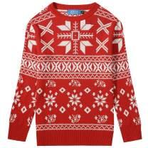 SSLR Big Boys' Xmas Snowflakes Pullover Crew Neck Ugly Christmas Sweater
