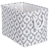 """DII Bone Dry Small Rectangle Pet Toy and Accessory Storage Bin, 14x8x9"""", Collapsible Organizer Storage Basket for Home Décor, Pet Toy, Blankets, Leashes and Food-Gray Lattice Paw Print"""