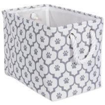 """DII Bone Dry Medium Rectangle Pet Toy and Accessory Storage Bin, 16x10x12"""", Collapsible Organizer Storage Basket for Home Décor, Pet Toy, Blankets, Leashes and Food-Gray Lattice Paw Print"""