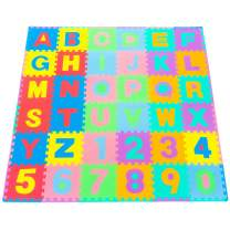 """ProSource Kids Foam Puzzle Floor Play Mat with Shapes & Colors or Numbers & Alphabets, 36 Tiles, 12""""x12"""" and 24 Borders"""
