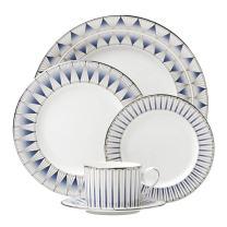 Lenox 5 Piece Geodesia Place Setting Dinnerware Set, Blue